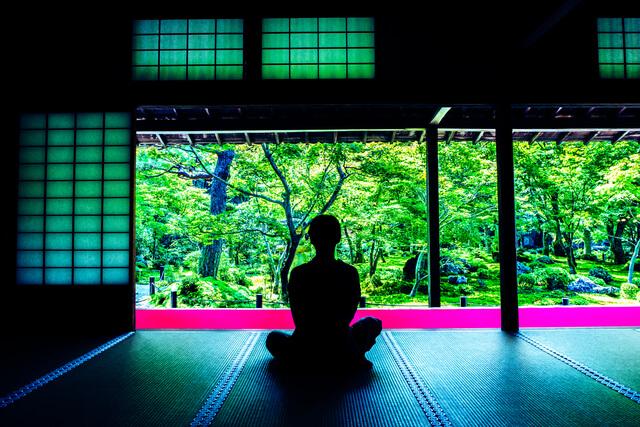 Zazen mediation activities in Japanese summer